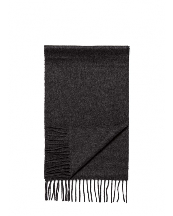 Cashmere Woven Scarf in Charcoal Melange