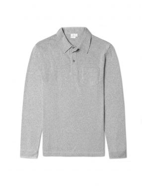 Men's Combed Cotton Long Sleeve Riviera Polo Shirt in Grey Melange