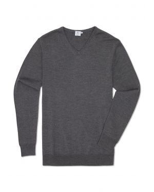 Men's Fine Merino V-Neck Jumper in Mid Grey Melange