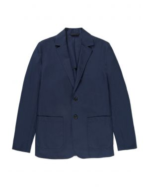 Men's Cotton Linen Unstructured Blazer in Navy
