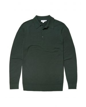 Men's Fine Merino Wool Polo in Bottle Green