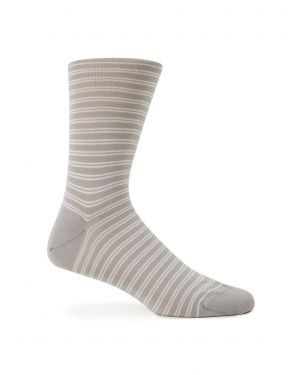 Men's Mercerised Cotton Socks with Twin Stripe in Pebble Grey