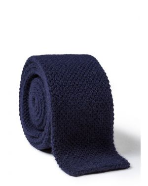 Men's Knitted Cashmere Tie in Navy