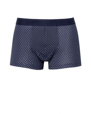 Men's Printed Stretch Cotton Trunks in Navy Polka Dot
