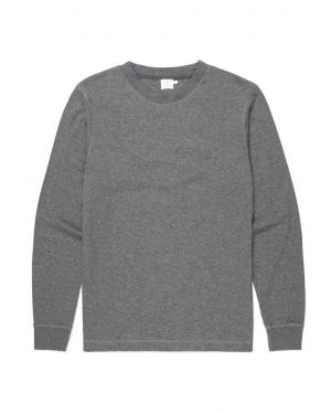 Men's Cotton Cellulock T-Shirt with Ribbed Cuffs in Charcoal Melange