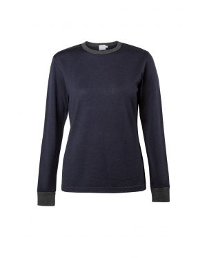 Women's Vintage Wool Crew Neck Jumper in Navy
