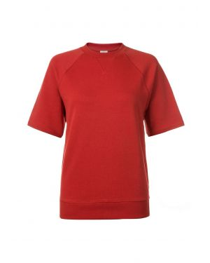 Women's Loopback Cotton Sweatshirt With Short Raglan Sleeve in Wren
