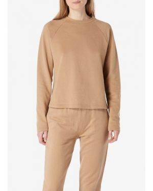 Women's Cotton Loopback Cropped Sweatshirt in Camel