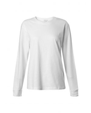 Women's Distressed Cotton Long Sleeve Relaxed T-Shirt in White