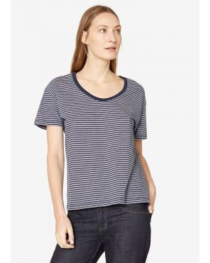 Women's Cotton Relaxed Scoop Neck T-Shirt with Twin Stripe in Navy