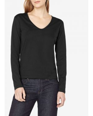 Women's Cotton Long Sleeve U-Neck T-Shirt in Black