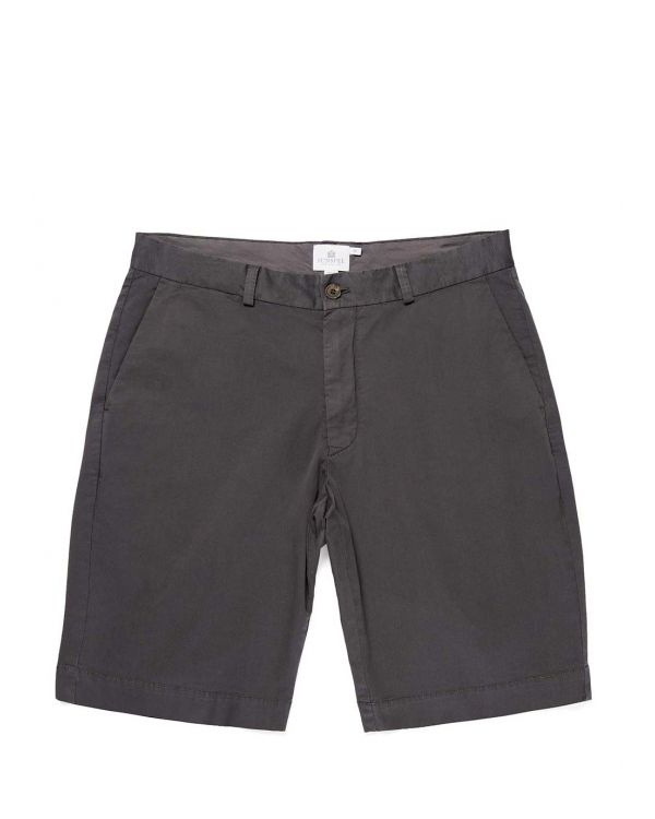 Short Chino en coton sergé stretch pour homme en anthracite
