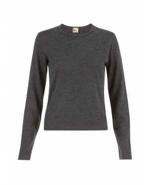 Long Sleeve Cropped Crew Neck Top in Charcoal Melange