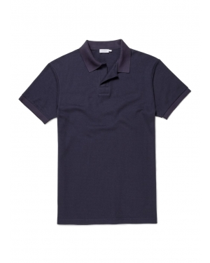 Men's Cotton Cellulock Buttonless Polo Shirt in Navy