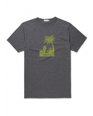 Men's Cotton T-Shirt with Palm Tree Print in Grey Melange