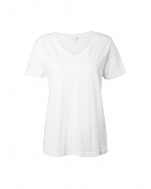 Women's Distressed Cotton V- Neck T-Shirt in White