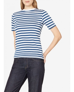 Women's Cotton Mid Sleeve T-Shirt with Bold Stripe in Mid Blue