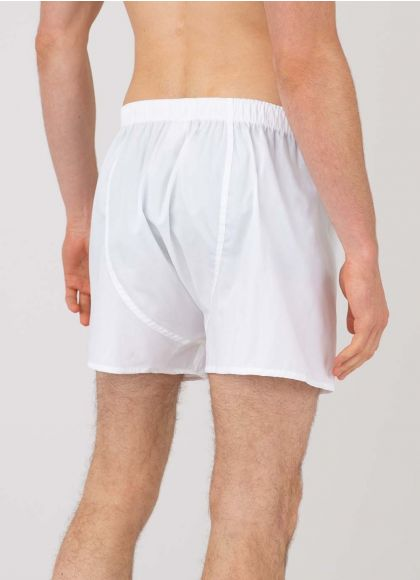 Men's Cotton Poplin Boxer Shorts in White - back model shot