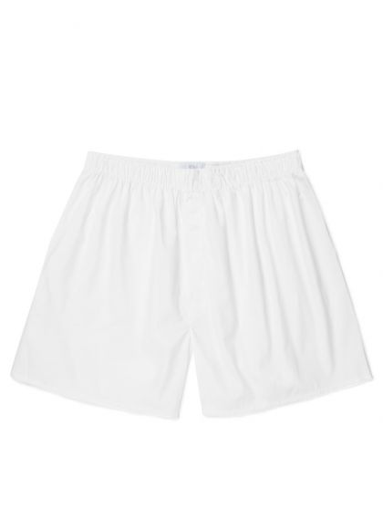 Men's Cotton Poplin Boxer Shorts in White