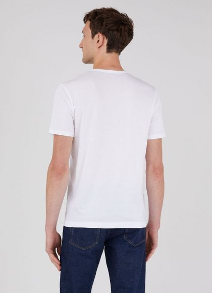 Men's Classic Cotton T-Shirt in White - neck detail